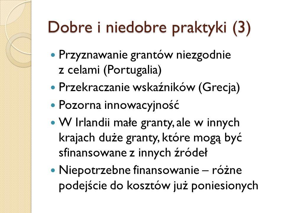 Dobre i niedobre praktyki (3) Przyznawanie grantów niezgodnie z celami (Portugalia) Przekraczanie wskaźników (Grecja) Pozorna innowacyjność W Irlandii