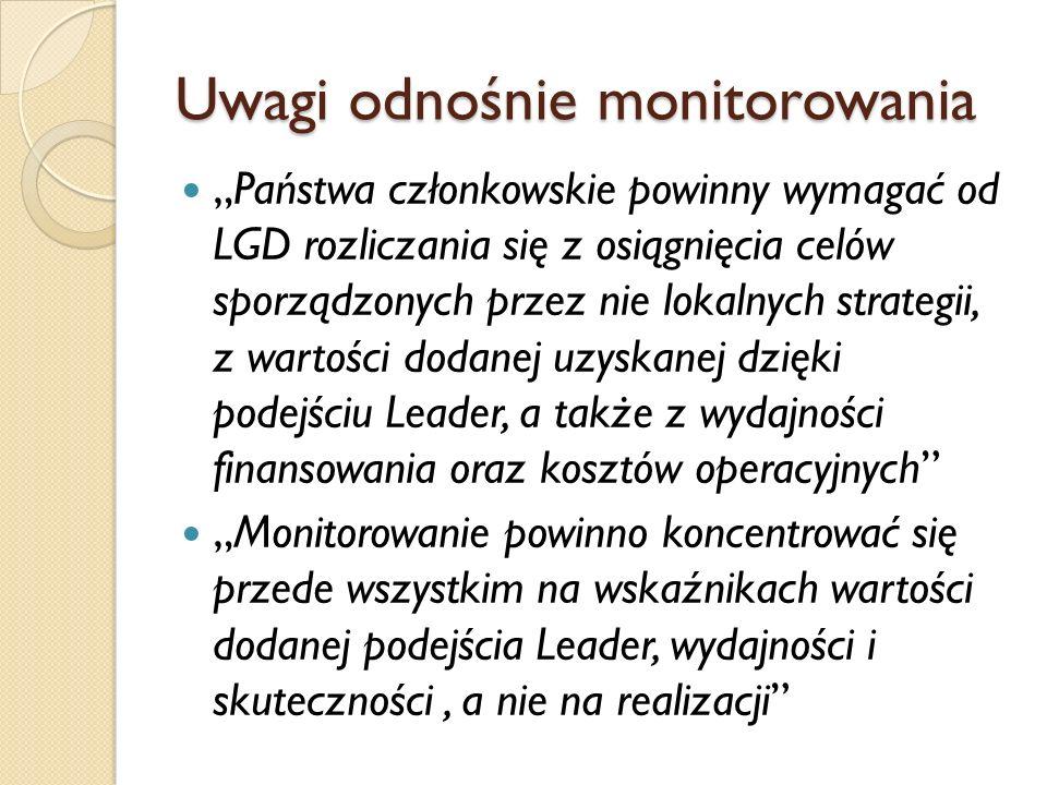 Inne uwagi w raporcie ETO W wielu krajach określono zakres projektów, pomimo że zaleceniem UE było, aby tego nie robić (w Polsce też) Ocena średniookresowa Programu Leader+ była w 2003 roku, kiedy realizacja Programu była na początku – teraz jest tak samo, przynajmniej w Polsce.