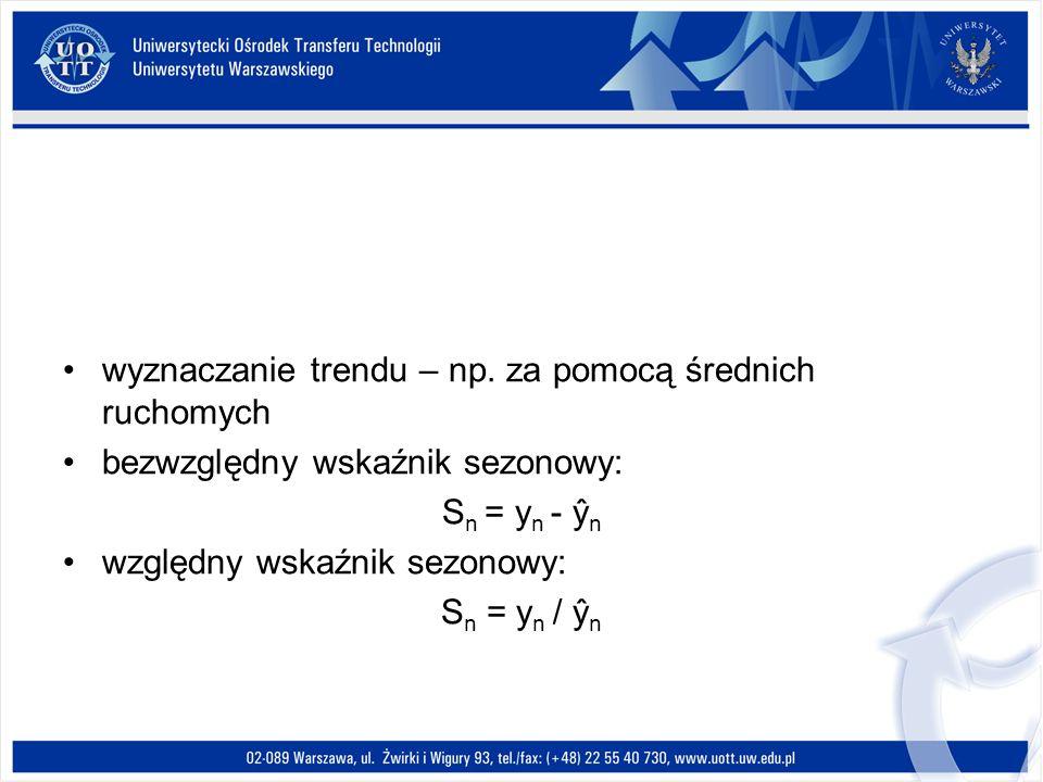 wyznaczanie trendu – np. za pomocą średnich ruchomych bezwzględny wskaźnik sezonowy: S n = y n - ŷ n względny wskaźnik sezonowy: S n = y n / ŷ n