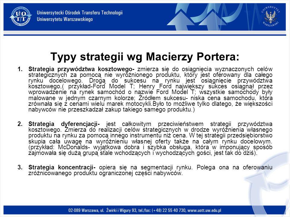 Typy strategii wg Macierzy Portera: 1.Strategia przywództwa kosztowego- zmierza się do osiągnięcia wyznaczonych celów strategicznych za pomocą nie wyr