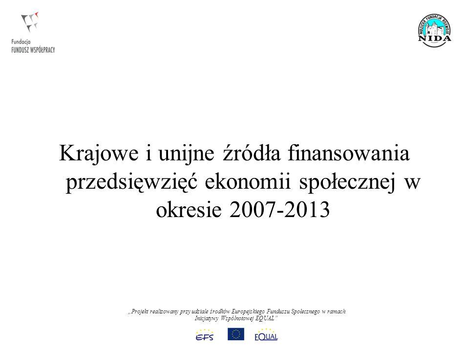 Projekt realizowany przy udziale środków Europejskiego Funduszu Społecznego w ramach Inicjatywy Wspólnotowej EQUAL Krajowe i unijne źródła finansowania przedsięwzięć ekonomii społecznej w okresie 2007-2013