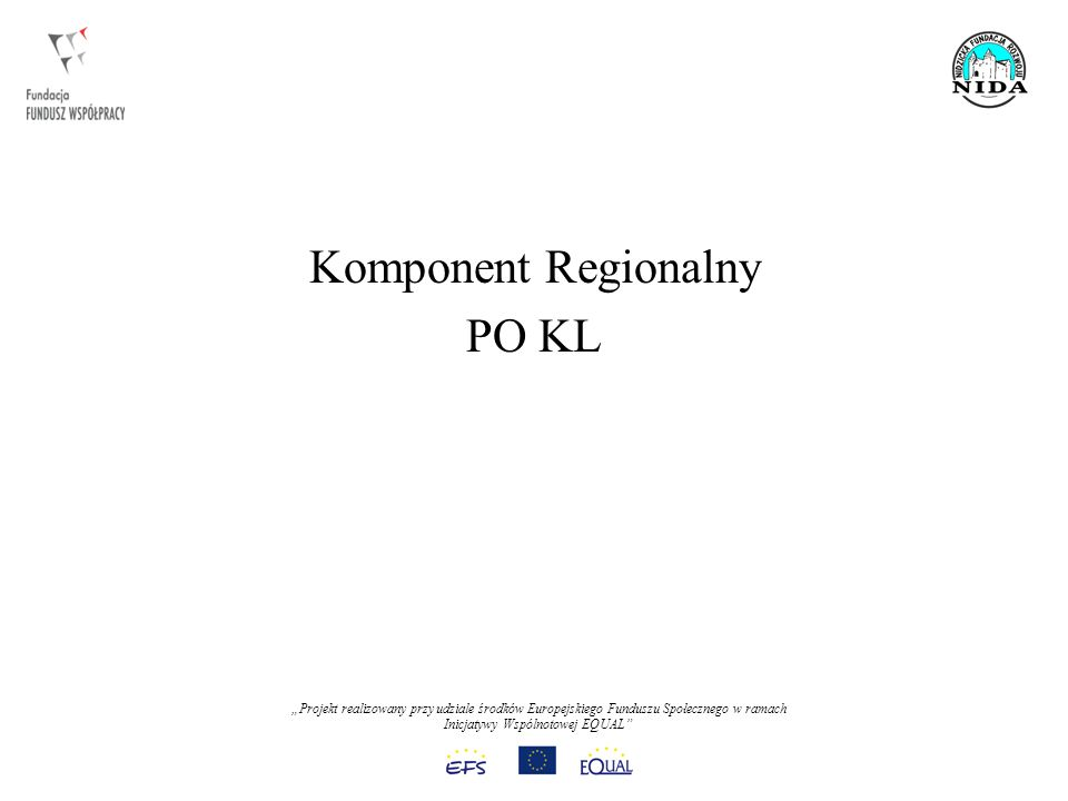 Projekt realizowany przy udziale środków Europejskiego Funduszu Społecznego w ramach Inicjatywy Wspólnotowej EQUAL Komponent Regionalny PO KL