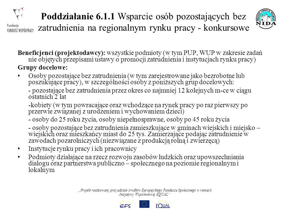 Projekt realizowany przy udziale środków Europejskiego Funduszu Społecznego w ramach Inicjatywy Wspólnotowej EQUAL Poddziałanie 6.1.1 Wsparcie osób pozostających bez zatrudnienia na regionalnym rynku pracy - konkursowe Beneficjenci (projektodawcy): wszystkie podmioty (w tym PUP, WUP w zakresie zadań nie objętych przepisami ustawy o promocji zatrudnienia i instytucjach rynku pracy) Grupy docelowe: Osoby pozostające bez zatrudnienia (w tym zarejestrowane jako bezrobotne lub poszukujące pracy), w szczególności osoby z poniższych grup docelowych: - pozostające bez zatrudnienia przez okres co najmniej 12 kolejnych m-ce w ciągu ostatnich 2 lat -kobiety (w tym powracające oraz wchodzące na rynek pracy po raz pierwszy po przerwie związanej z urodzeniem i wychowaniem dzieci) - osoby do 25 roku życia, osoby niepełnosprawne, osoby po 45 roku życia - osoby pozostające bez zatrudnienia zamieszkujące w gminach wiejskich i miejsko – wiejskich oraz mieszkańcy miast do 25 tys.