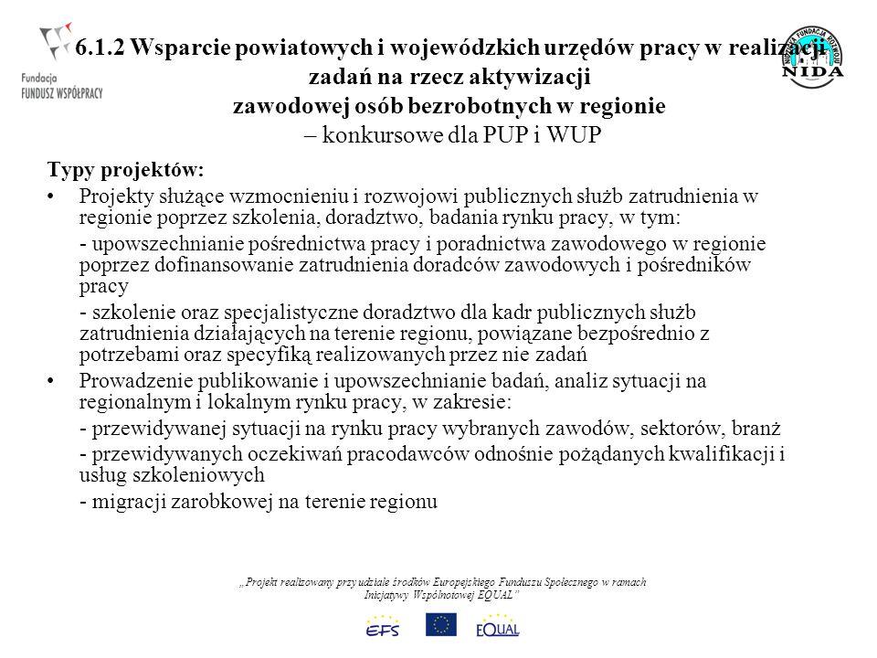 Projekt realizowany przy udziale środków Europejskiego Funduszu Społecznego w ramach Inicjatywy Wspólnotowej EQUAL 6.1.2 Wsparcie powiatowych i wojewódzkich urzędów pracy w realizacji zadań na rzecz aktywizacji zawodowej osób bezrobotnych w regionie – konkursowe dla PUP i WUP Typy projektów: Projekty służące wzmocnieniu i rozwojowi publicznych służb zatrudnienia w regionie poprzez szkolenia, doradztwo, badania rynku pracy, w tym: - upowszechnianie pośrednictwa pracy i poradnictwa zawodowego w regionie poprzez dofinansowanie zatrudnienia doradców zawodowych i pośredników pracy - szkolenie oraz specjalistyczne doradztwo dla kadr publicznych służb zatrudnienia działających na terenie regionu, powiązane bezpośrednio z potrzebami oraz specyfiką realizowanych przez nie zadań Prowadzenie publikowanie i upowszechnianie badań, analiz sytuacji na regionalnym i lokalnym rynku pracy, w zakresie: - przewidywanej sytuacji na rynku pracy wybranych zawodów, sektorów, branż - przewidywanych oczekiwań pracodawców odnośnie pożądanych kwalifikacji i usług szkoleniowych - migracji zarobkowej na terenie regionu