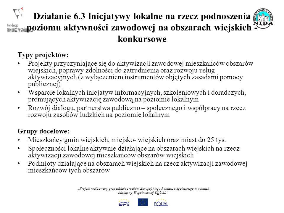 Projekt realizowany przy udziale środków Europejskiego Funduszu Społecznego w ramach Inicjatywy Wspólnotowej EQUAL Działanie 6.3 Inicjatywy lokalne na rzecz podnoszenia poziomu aktywności zawodowej na obszarach wiejskich - konkursowe Typy projektów: Projekty przyczyniające się do aktywizacji zawodowej mieszkańców obszarów wiejskich, poprawy zdolności do zatrudnienia oraz rozwoju usług aktywizacyjnych (z wyłączeniem instrumentów objętych zasadami pomocy publicznej) Wsparcie lokalnych inicjatyw informacyjnych, szkoleniowych i doradczych, promujących aktywizację zawodową na poziomie lokalnym Rozwój dialogu, partnerstwa publiczno – społecznego i współpracy na rzecz rozwoju zasobów ludzkich na poziomie lokalnym Grupy docelowe: Mieszkańcy gmin wiejskich, miejsko- wiejskich oraz miast do 25 tys.
