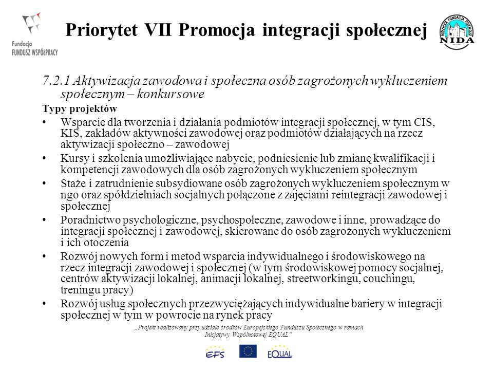 Projekt realizowany przy udziale środków Europejskiego Funduszu Społecznego w ramach Inicjatywy Wspólnotowej EQUAL Priorytet VII Promocja integracji społecznej 7.2.1 Aktywizacja zawodowa i społeczna osób zagrożonych wykluczeniem społecznym – konkursowe Typy projektów Wsparcie dla tworzenia i działania podmiotów integracji społecznej, w tym CIS, KIS, zakładów aktywności zawodowej oraz podmiotów działających na rzecz aktywizacji społeczno – zawodowej Kursy i szkolenia umożliwiające nabycie, podniesienie lub zmianę kwalifikacji i kompetencji zawodowych dla osób zagrożonych wykluczeniem społecznym Staże i zatrudnienie subsydiowane osób zagrożonych wykluczeniem społecznym w ngo oraz spółdzielniach socjalnych połączone z zajęciami reintegracji zawodowej i społecznej Poradnictwo psychologiczne, psychospołeczne, zawodowe i inne, prowadzące do integracji społecznej i zawodowej, skierowane do osób zagrożonych wykluczeniem i ich otoczenia Rozwój nowych form i metod wsparcia indywidualnego i środowiskowego na rzecz integracji zawodowej i społecznej (w tym środowiskowej pomocy socjalnej, centrów aktywizacji lokalnej, animacji lokalnej, streetworkingu, couchingu, treningu pracy) Rozwój usług społecznych przezwyciężających indywidualne bariery w integracji społecznej w tym w powrocie na rynek pracy