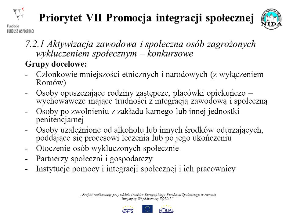 Projekt realizowany przy udziale środków Europejskiego Funduszu Społecznego w ramach Inicjatywy Wspólnotowej EQUAL Priorytet VII Promocja integracji społecznej 7.2.1 Aktywizacja zawodowa i społeczna osób zagrożonych wykluczeniem społecznym – konkursowe Grupy docelowe: -Członkowie mniejszości etnicznych i narodowych (z wyłączeniem Romów) -Osoby opuszczające rodziny zastępcze, placówki opiekuńczo – wychowawcze mające trudności z integracją zawodową i społeczną -Osoby po zwolnieniu z zakładu karnego lub innej jednostki penitencjarnej -Osoby uzależnione od alkoholu lub innych środków odurzających, poddające się procesowi leczenia lub po jego ukończeniu -Otoczenie osób wykluczonych społecznie -Partnerzy społeczni i gospodarczy -Instytucje pomocy i integracji społecznej i ich pracownicy