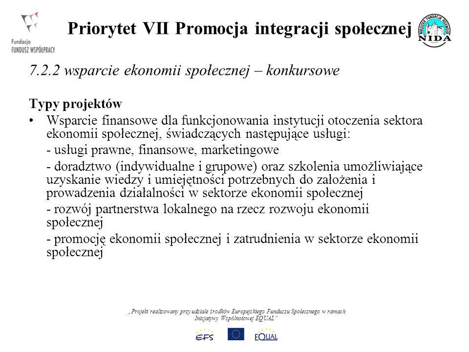 Projekt realizowany przy udziale środków Europejskiego Funduszu Społecznego w ramach Inicjatywy Wspólnotowej EQUAL Priorytet VII Promocja integracji społecznej 7.2.2 wsparcie ekonomii społecznej – konkursowe Typy projektów Wsparcie finansowe dla funkcjonowania instytucji otoczenia sektora ekonomii społecznej, świadczących następujące usługi: - usługi prawne, finansowe, marketingowe - doradztwo (indywidualne i grupowe) oraz szkolenia umożliwiające uzyskanie wiedzy i umiejętności potrzebnych do założenia i prowadzenia działalności w sektorze ekonomii społecznej - rozwój partnerstwa lokalnego na rzecz rozwoju ekonomii społecznej - promocję ekonomii społecznej i zatrudnienia w sektorze ekonomii społecznej