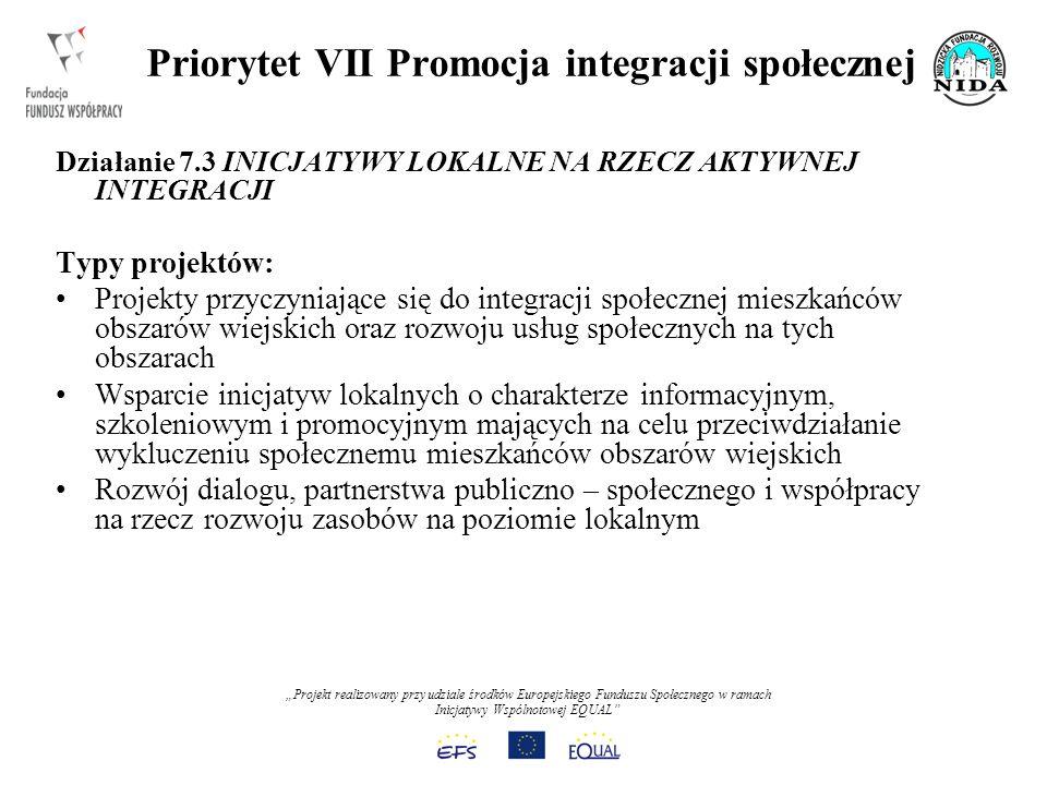Projekt realizowany przy udziale środków Europejskiego Funduszu Społecznego w ramach Inicjatywy Wspólnotowej EQUAL Priorytet VII Promocja integracji społecznej Działanie 7.3 INICJATYWY LOKALNE NA RZECZ AKTYWNEJ INTEGRACJI Typy projektów: Projekty przyczyniające się do integracji społecznej mieszkańców obszarów wiejskich oraz rozwoju usług społecznych na tych obszarach Wsparcie inicjatyw lokalnych o charakterze informacyjnym, szkoleniowym i promocyjnym mających na celu przeciwdziałanie wykluczeniu społecznemu mieszkańców obszarów wiejskich Rozwój dialogu, partnerstwa publiczno – społecznego i współpracy na rzecz rozwoju zasobów na poziomie lokalnym