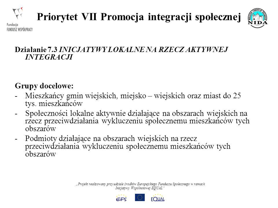 Projekt realizowany przy udziale środków Europejskiego Funduszu Społecznego w ramach Inicjatywy Wspólnotowej EQUAL Priorytet VII Promocja integracji społecznej Działanie 7.3 INICJATYWY LOKALNE NA RZECZ AKTYWNEJ INTEGRACJI Grupy docelowe: -Mieszkańcy gmin wiejskich, miejsko – wiejskich oraz miast do 25 tys.