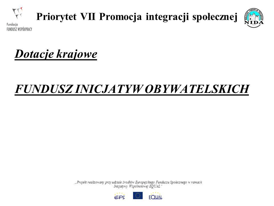 Projekt realizowany przy udziale środków Europejskiego Funduszu Społecznego w ramach Inicjatywy Wspólnotowej EQUAL Priorytet VII Promocja integracji społecznej Dotacje krajowe FUNDUSZ INICJATYW OBYWATELSKICH