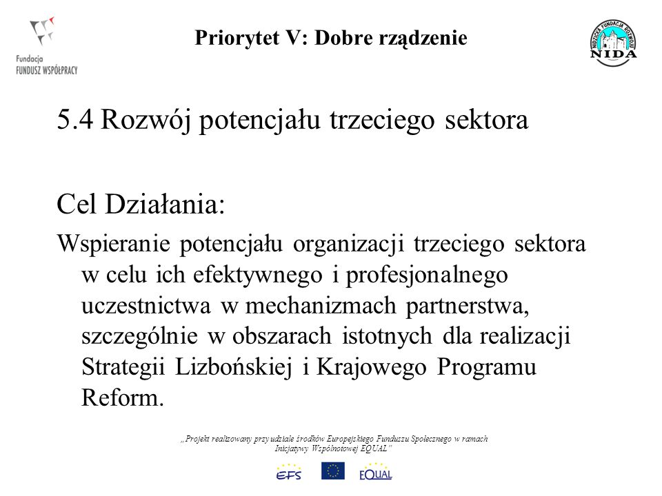 Projekt realizowany przy udziale środków Europejskiego Funduszu Społecznego w ramach Inicjatywy Wspólnotowej EQUAL Priorytet V: Dobre rządzenie 5.4 Rozwój potencjału trzeciego sektora Cel Działania: Wspieranie potencjału organizacji trzeciego sektora w celu ich efektywnego i profesjonalnego uczestnictwa w mechanizmach partnerstwa, szczególnie w obszarach istotnych dla realizacji Strategii Lizbońskiej i Krajowego Programu Reform.