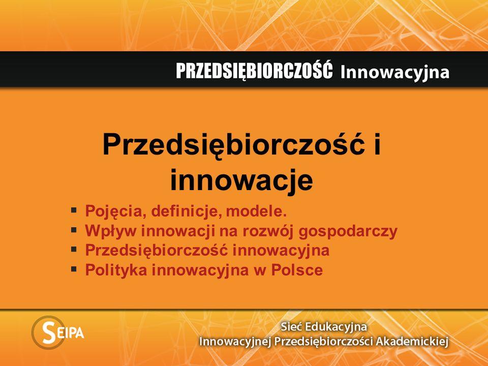 Przedsiębiorczość i innowacje Pojęcia, definicje, modele. Wpływ innowacji na rozwój gospodarczy Przedsiębiorczość innowacyjna Polityka innowacyjna w P