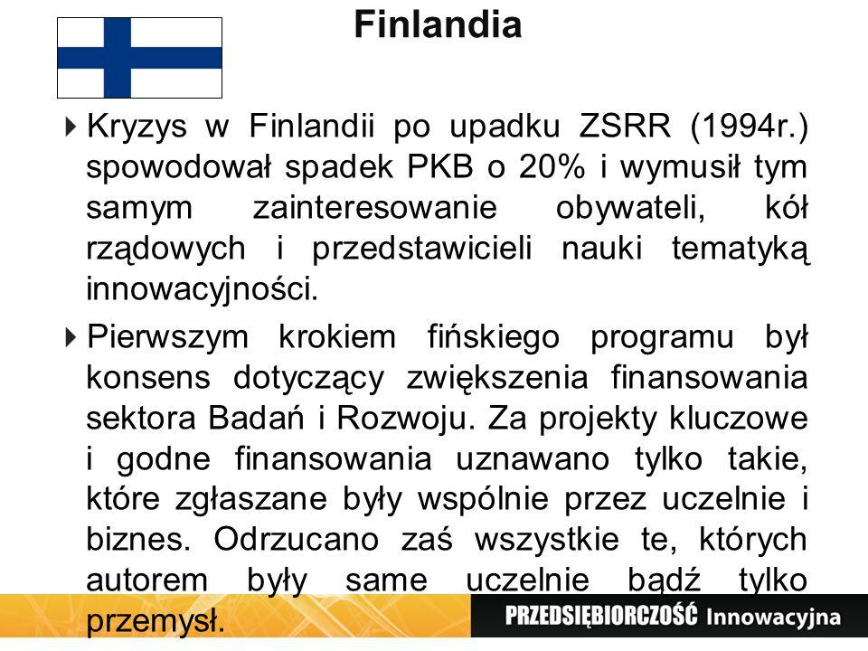 Finlandia Kryzys w Finlandii po upadku ZSRR (1994r.) spowodował spadek PKB o 20% i wymusił tym samym zainteresowanie obywateli, kół rządowych i przeds