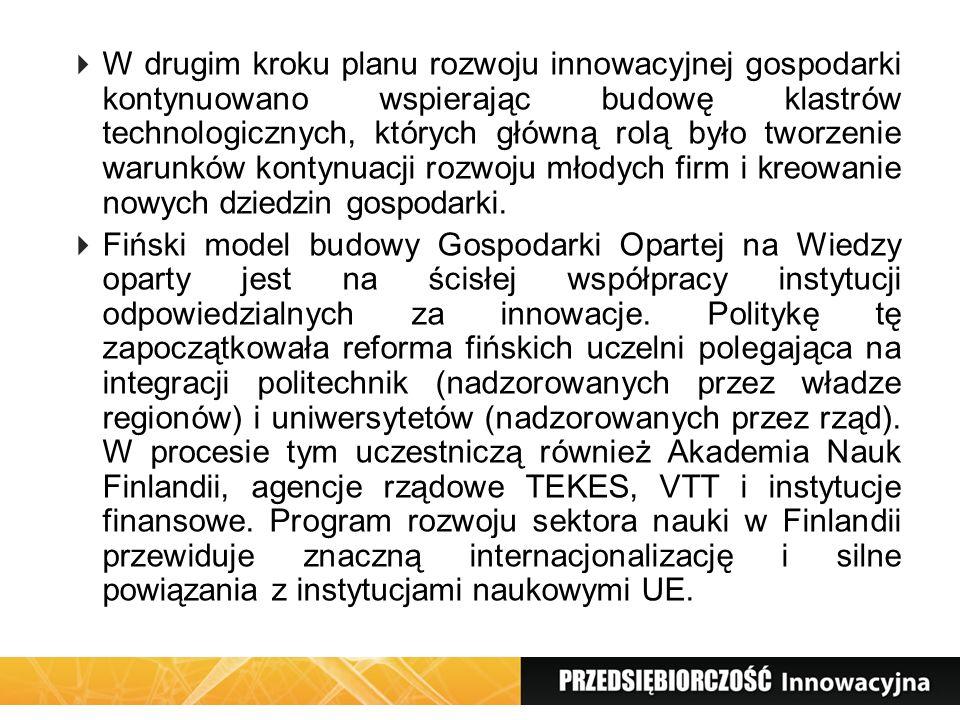 W drugim kroku planu rozwoju innowacyjnej gospodarki kontynuowano wspierając budowę klastrów technologicznych, których główną rolą było tworzenie waru
