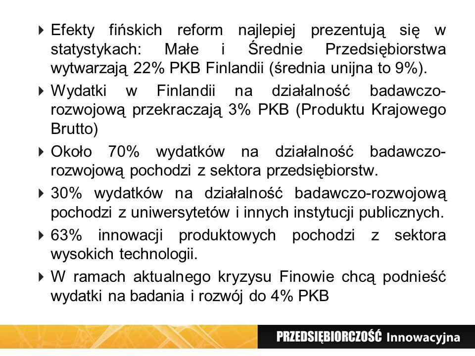 Efekty fińskich reform najlepiej prezentują się w statystykach: Małe i Średnie Przedsiębiorstwa wytwarzają 22% PKB Finlandii (średnia unijna to 9%). W