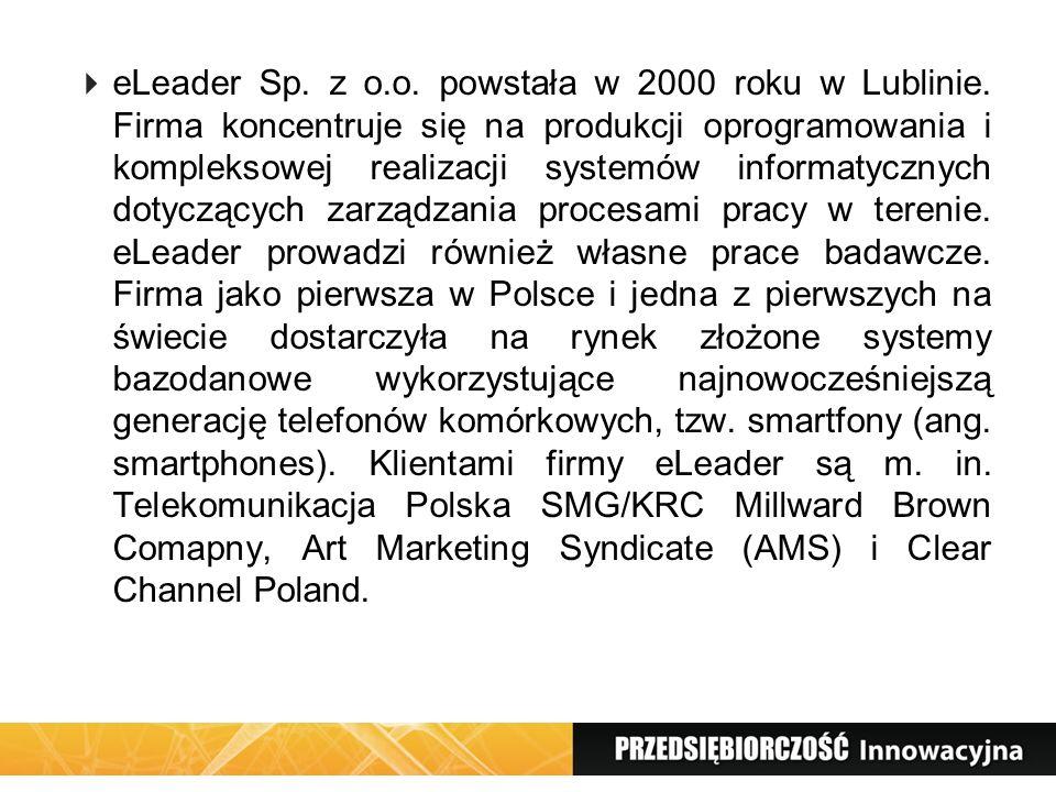 eLeader Sp. z o.o. powstała w 2000 roku w Lublinie. Firma koncentruje się na produkcji oprogramowania i kompleksowej realizacji systemów informatyczny