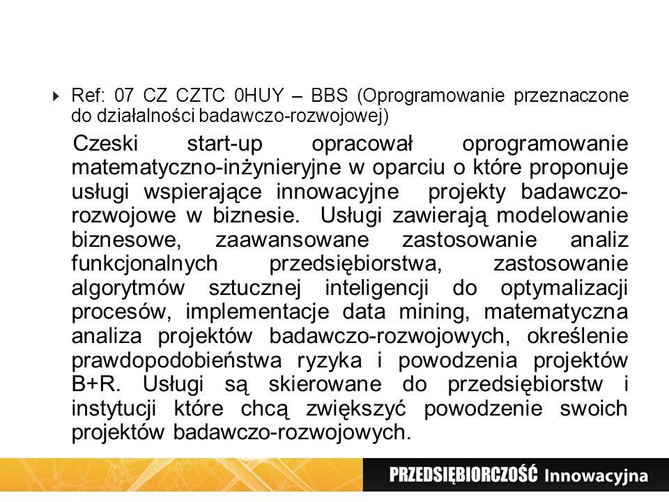 Ref: 07 CZ CZTC 0HUY – BBS (Oprogramowanie przeznaczone do działalności badawczo-rozwojowej) Czeski start-up opracował oprogramowanie matematyczno-inż
