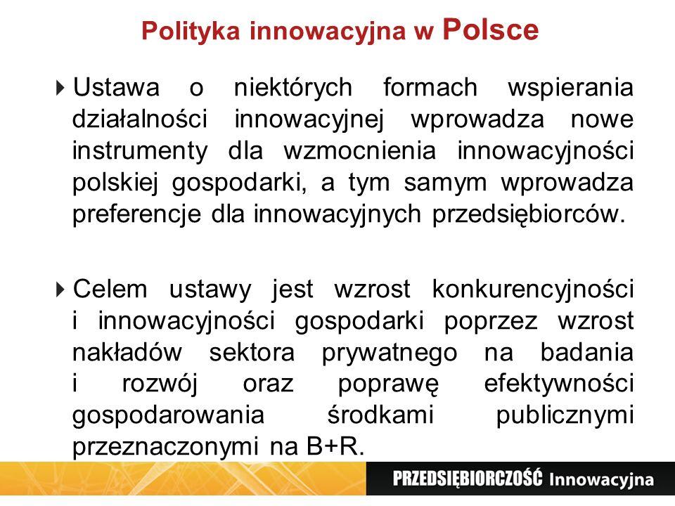 Polityka innowacyjna w Polsce Ustawa o niektórych formach wspierania działalności innowacyjnej wprowadza nowe instrumenty dla wzmocnienia innowacyjnoś