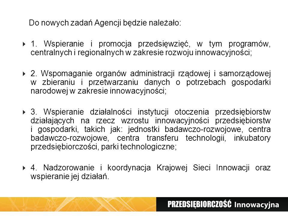 Do nowych zadań Agencji będzie należało: 1. Wspieranie i promocja przedsięwzięć, w tym programów, centralnych i regionalnych w zakresie rozwoju innowa