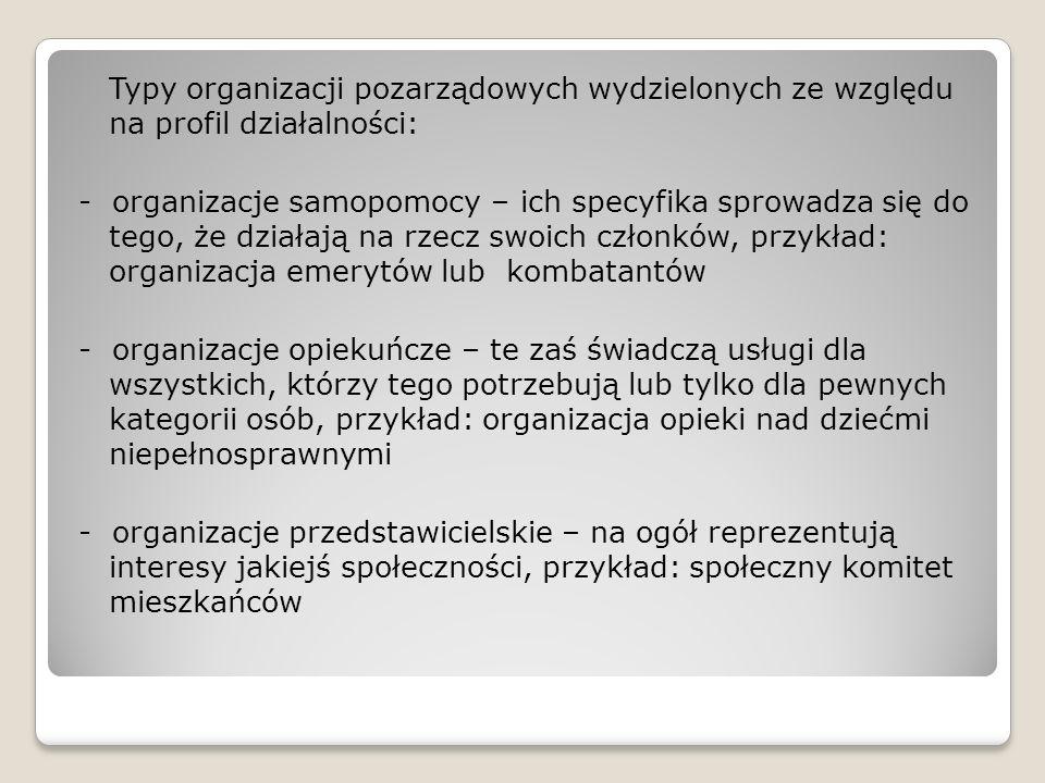 Typy organizacji pozarządowych wydzielonych ze względu na profil działalności: - organizacje samopomocy – ich specyfika sprowadza się do tego, że dzia