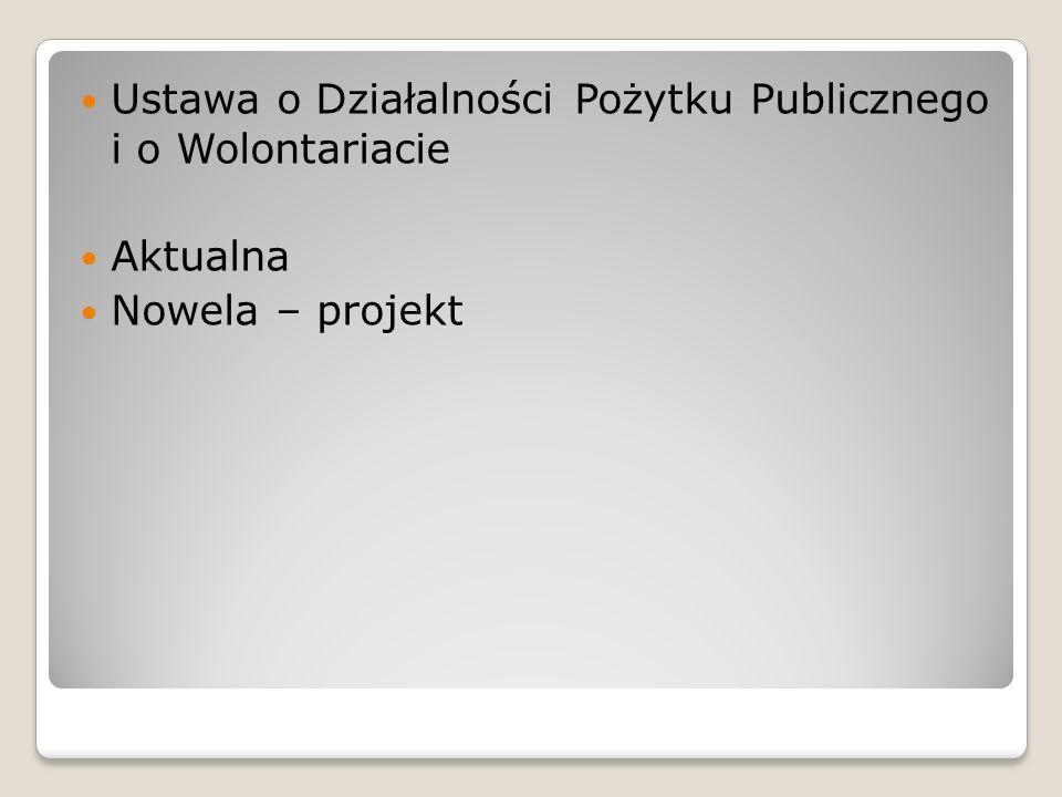Ustawa o Działalności Pożytku Publicznego i o Wolontariacie Aktualna Nowela – projekt