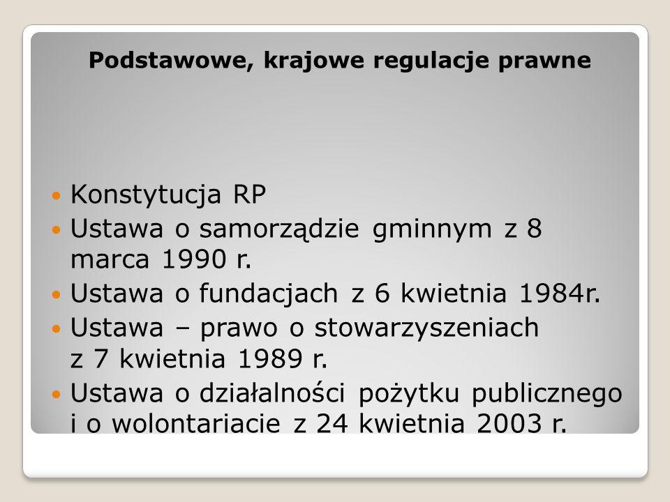 Podstawowe, krajowe regulacje prawne Konstytucja RP Ustawa o samorządzie gminnym z 8 marca 1990 r. Ustawa o fundacjach z 6 kwietnia 1984r. Ustawa – pr