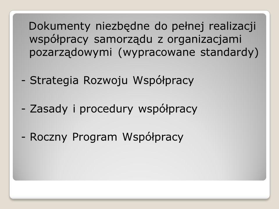 Dokumenty niezbędne do pełnej realizacji współpracy samorządu z organizacjami pozarządowymi (wypracowane standardy) - Strategia Rozwoju Współpracy - Z