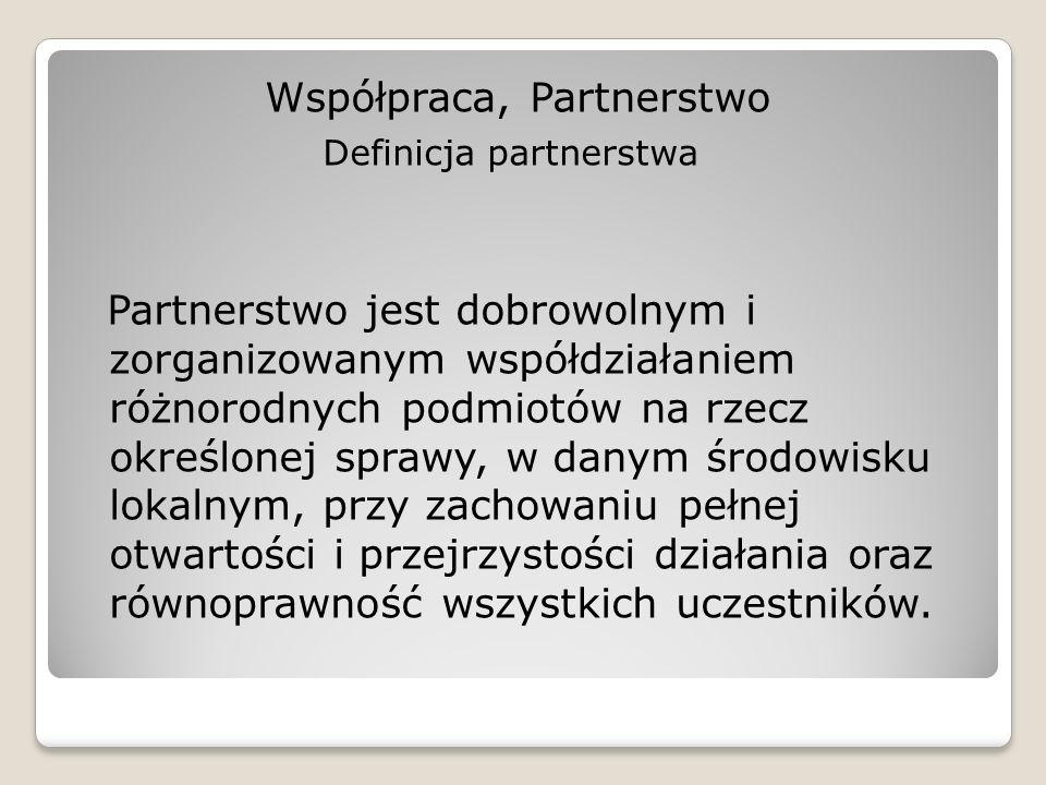Współpraca, Partnerstwo Definicja partnerstwa Partnerstwo jest dobrowolnym i zorganizowanym współdziałaniem różnorodnych podmiotów na rzecz określonej