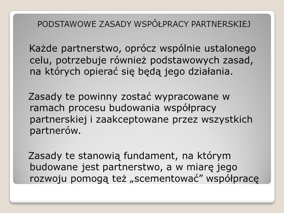 PODSTAWOWE ZASADY WSPÓŁPRACY PARTNERSKIEJ Każde partnerstwo, oprócz wspólnie ustalonego celu, potrzebuje również podstawowych zasad, na których opiera