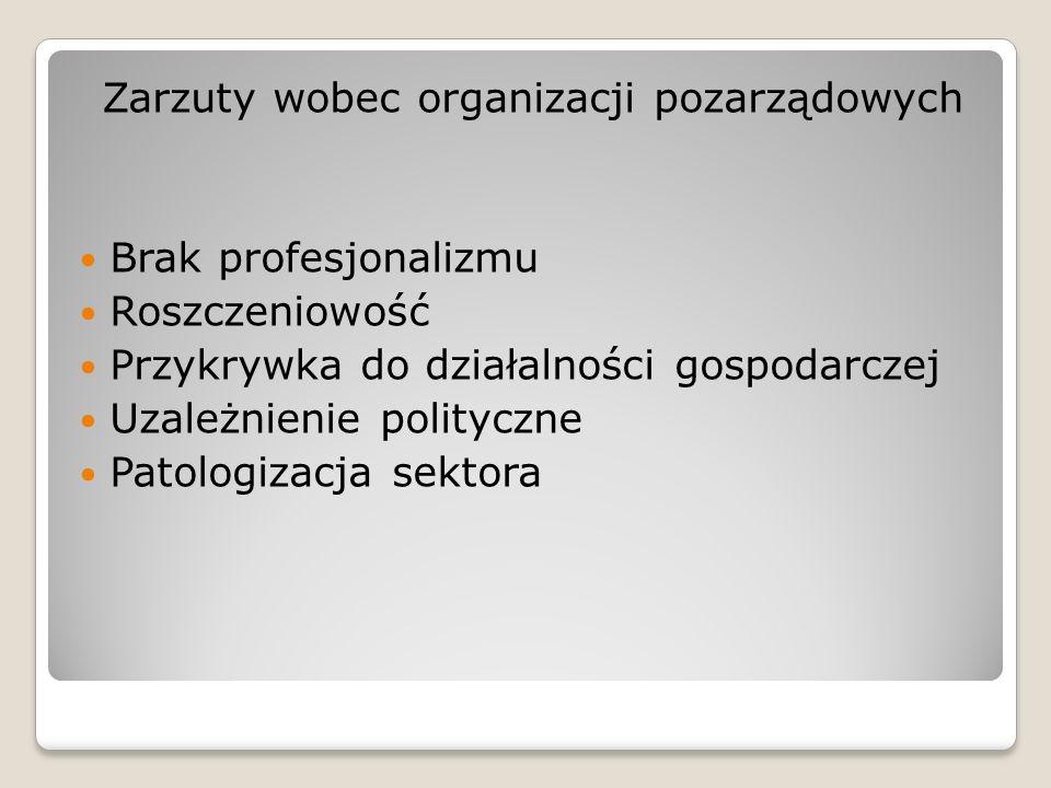 Zarzuty wobec organizacji pozarządowych Brak profesjonalizmu Roszczeniowość Przykrywka do działalności gospodarczej Uzależnienie polityczne Patologiza