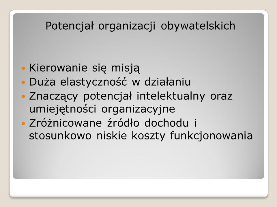 Potencjał organizacji obywatelskich Kierowanie się misją Duża elastyczność w działaniu Znaczący potencjał intelektualny oraz umiejętności organizacyjn