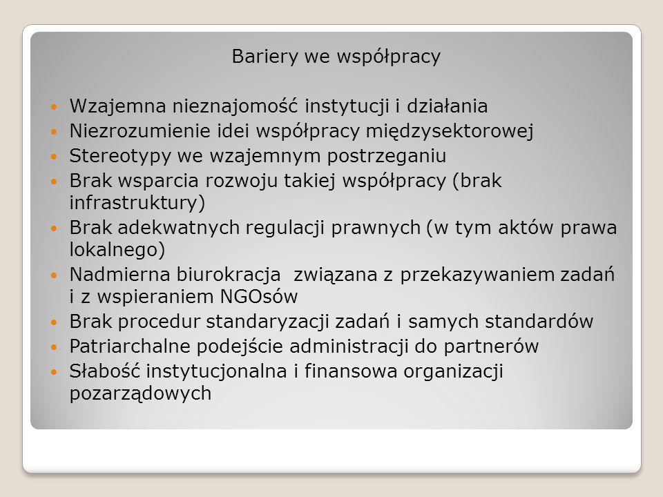 Bariery we współpracy Wzajemna nieznajomość instytucji i działania Niezrozumienie idei współpracy międzysektorowej Stereotypy we wzajemnym postrzegani
