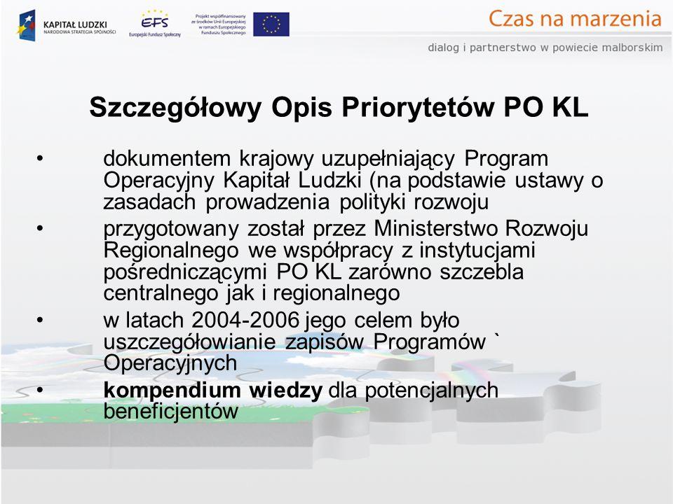 Szczegółowy Opis Priorytetów PO KL dokumentem krajowy uzupełniający Program Operacyjny Kapitał Ludzki (na podstawie ustawy o zasadach prowadzenia polityki rozwoju przygotowany został przez Ministerstwo Rozwoju Regionalnego we współpracy z instytucjami pośredniczącymi PO KL zarówno szczebla centralnego jak i regionalnego w latach 2004-2006 jego celem było uszczegółowianie zapisów Programów ` Operacyjnych kompendium wiedzy dla potencjalnych beneficjentów