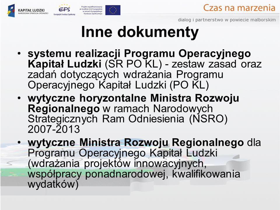 Inne dokumenty systemu realizacji Programu Operacyjnego Kapitał Ludzki (SR PO KL) - zestaw zasad oraz zadań dotyczących wdrażania Programu Operacyjnego Kapitał Ludzki (PO KL) wytyczne horyzontalne Ministra Rozwoju Regionalnego w ramach Narodowych Strategicznych Ram Odniesienia (NSRO) 2007-2013 wytyczne Ministra Rozwoju Regionalnego dla Programu Operacyjnego Kapitał Ludzki (wdrażania projektów innowacyjnych, współpracy ponadnarodowej, kwalifikowania wydatków)