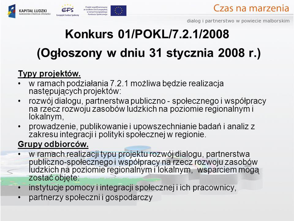 Konkurs 01/POKL/7.2.1/2008 (Ogłoszony w dniu 31 stycznia 2008 r.) Typy projektów.