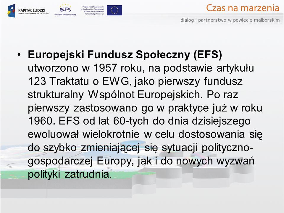 Europejski Fundusz Społeczny (EFS) utworzono w 1957 roku, na podstawie artykułu 123 Traktatu o EWG, jako pierwszy fundusz strukturalny Wspólnot Europejskich.