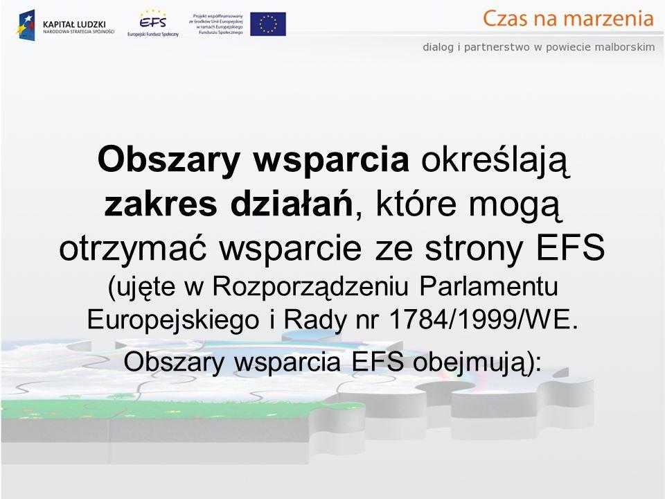 Obszary wsparcia określają zakres działań, które mogą otrzymać wsparcie ze strony EFS (ujęte w Rozporządzeniu Parlamentu Europejskiego i Rady nr 1784/1999/WE.