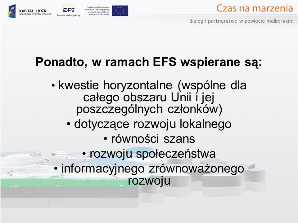 Ponadto, w ramach EFS wspierane są: kwestie horyzontalne (wspólne dla całego obszaru Unii i jej poszczególnych członków) dotyczące rozwoju lokalnego równości szans rozwoju społeczeństwa informacyjnego zrównoważonego rozwoju