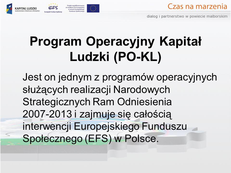 Program Operacyjny Kapitał Ludzki (PO-KL) Jest on jednym z programów operacyjnych służących realizacji Narodowych Strategicznych Ram Odniesienia 2007-2013 i zajmuje się całością interwencji Europejskiego Funduszu Społecznego (EFS) w Polsce.
