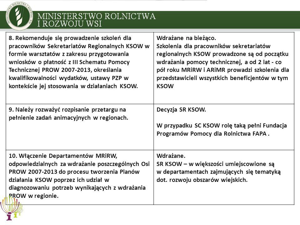 8. Rekomenduje się prowadzenie szkoleń dla pracowników Sekretariatów Regionalnych KSOW w formie warsztatów z zakresu przygotowania wniosków o płatność