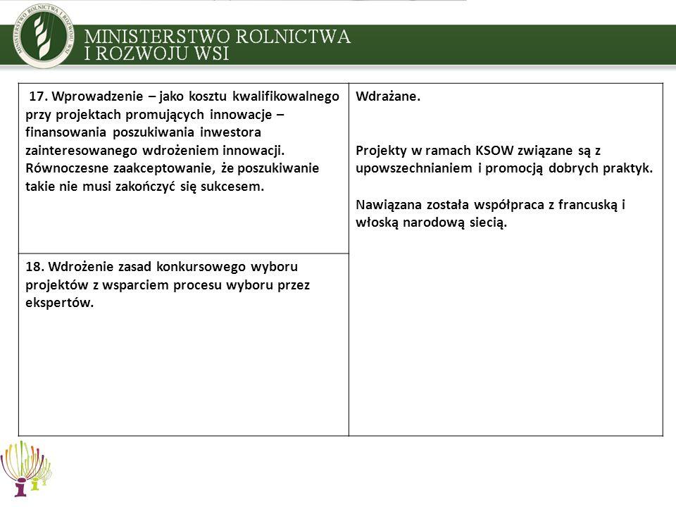 17. Wprowadzenie – jako kosztu kwalifikowalnego przy projektach promujących innowacje – finansowania poszukiwania inwestora zainteresowanego wdrożenie