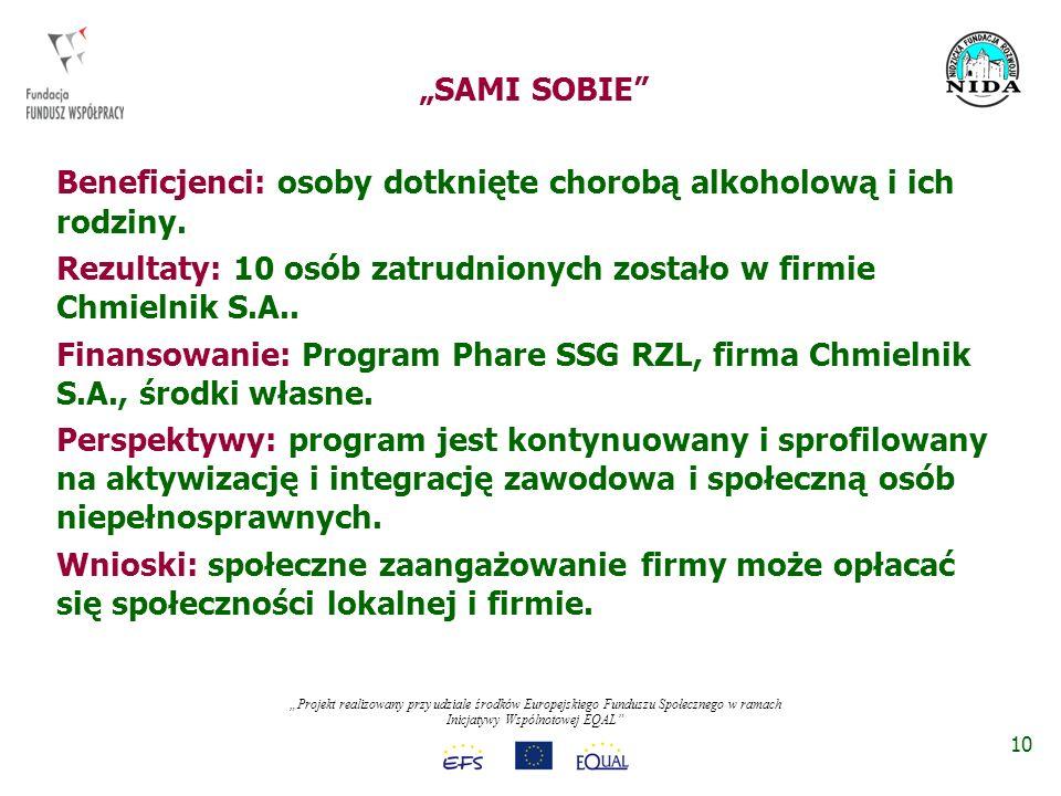 Projekt realizowany przy udziale środków Europejskiego Funduszu Społecznego w ramach Inicjatywy Wspólnotowej EQAL SAMI SOBIE Beneficjenci: osoby dotknięte chorobą alkoholową i ich rodziny.