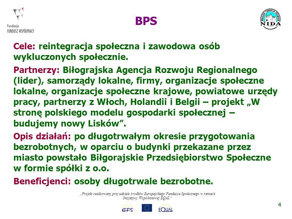 Projekt realizowany przy udziale środków Europejskiego Funduszu Społecznego w ramach Inicjatywy Wspólnotowej EQAL Rezultaty: BPS działa w formie spółki z o.o., której udziałowcem jest miasto i prywatne firmy.