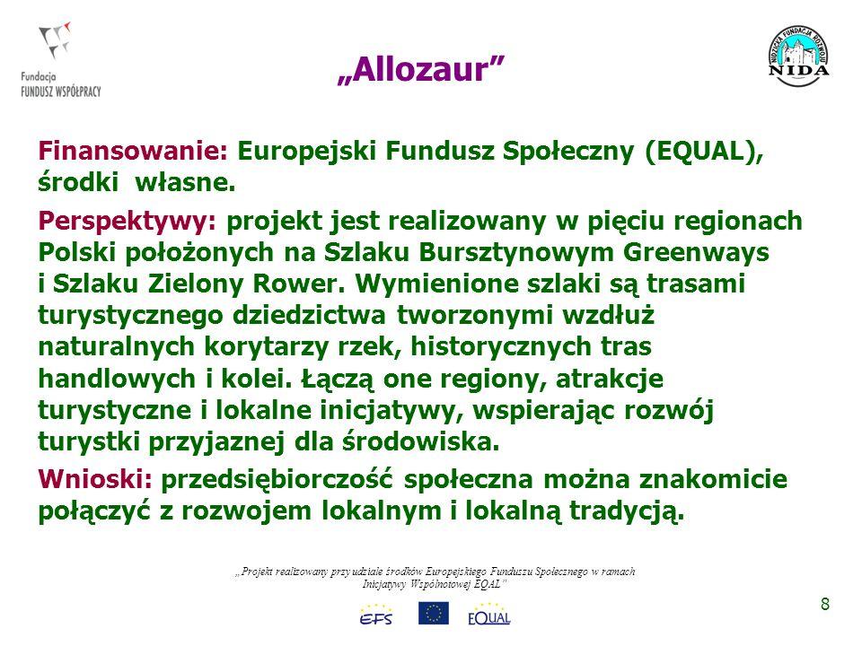 Projekt realizowany przy udziale środków Europejskiego Funduszu Społecznego w ramach Inicjatywy Wspólnotowej EQAL Cele: aktywizacja społeczna i zawodowa osób wykluczonych społecznie.