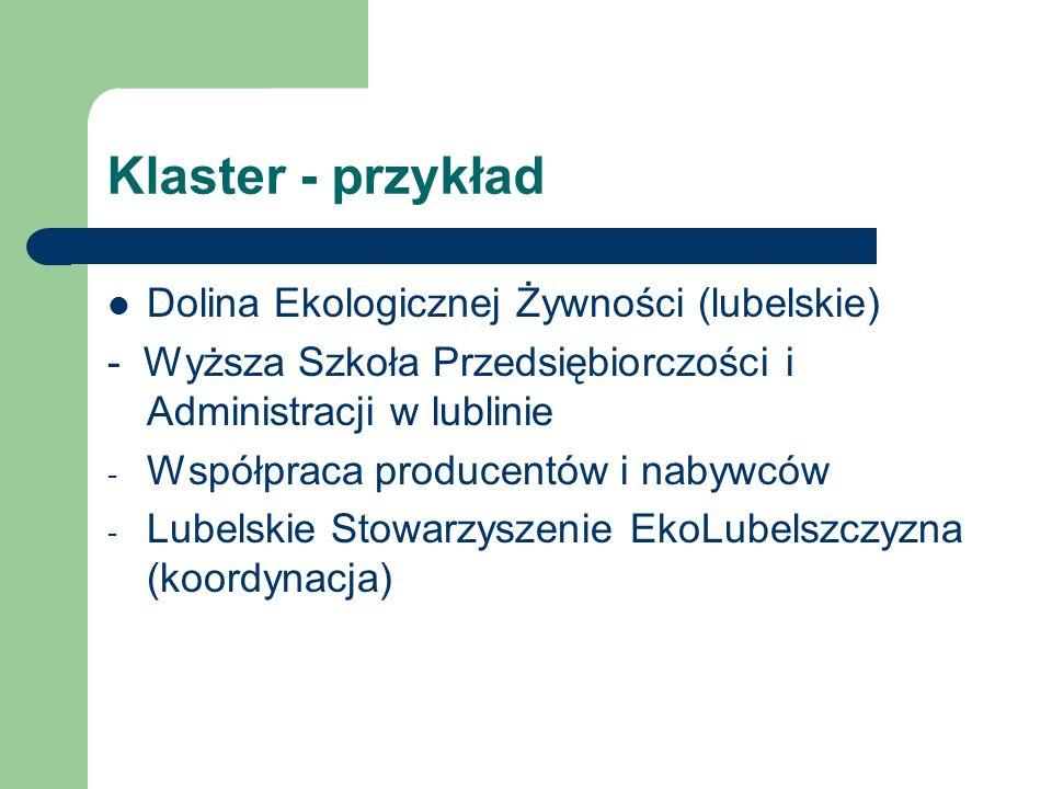 Klaster - przykład Dolina Ekologicznej Żywności (lubelskie) - Wyższa Szkoła Przedsiębiorczości i Administracji w lublinie - Współpraca producentów i n