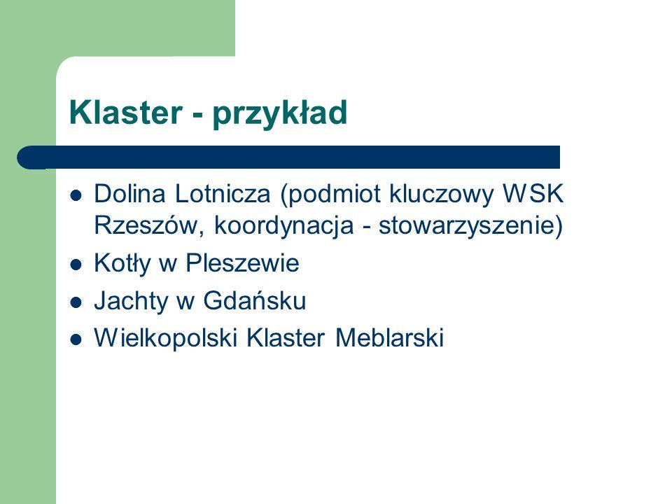 Klaster - przykład Dolina Lotnicza (podmiot kluczowy WSK Rzeszów, koordynacja - stowarzyszenie) Kotły w Pleszewie Jachty w Gdańsku Wielkopolski Klaste