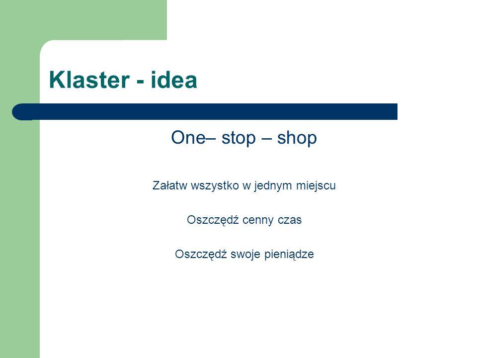 Klaster - idea One– stop – shop Załatw wszystko w jednym miejscu Oszczędź cenny czas Oszczędź swoje pieniądze