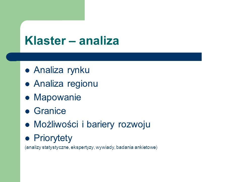Klaster – analiza Analiza rynku Analiza regionu Mapowanie Granice Możliwości i bariery rozwoju Priorytety (analizy statystyczne, ekspertyzy, wywiady,