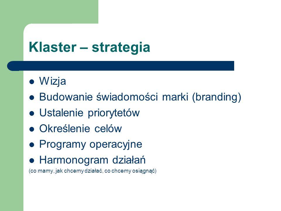 Klaster – strategia Wizja Budowanie świadomości marki (branding) Ustalenie priorytetów Określenie celów Programy operacyjne Harmonogram działań (co ma